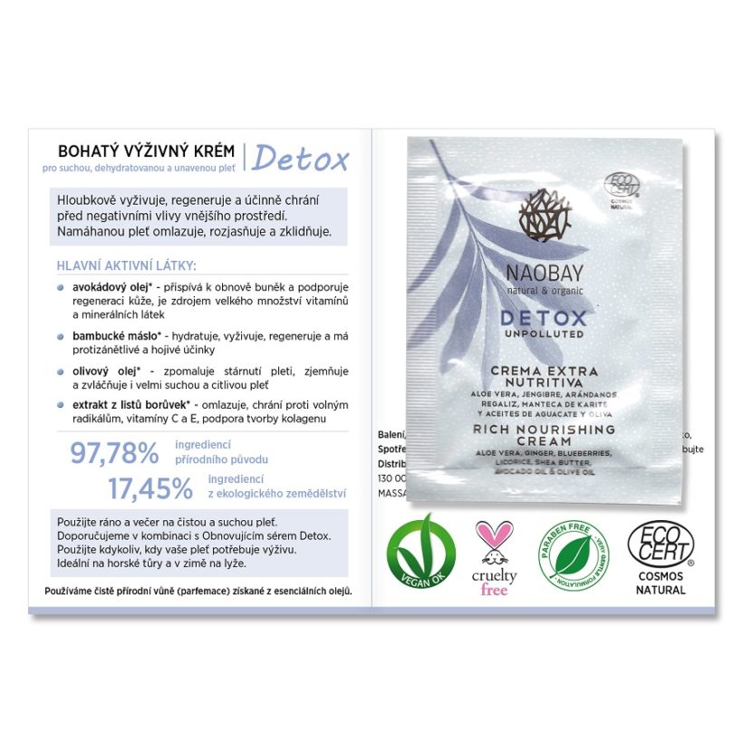 Vzorek: Bohatý výživný krém Detox – sáček